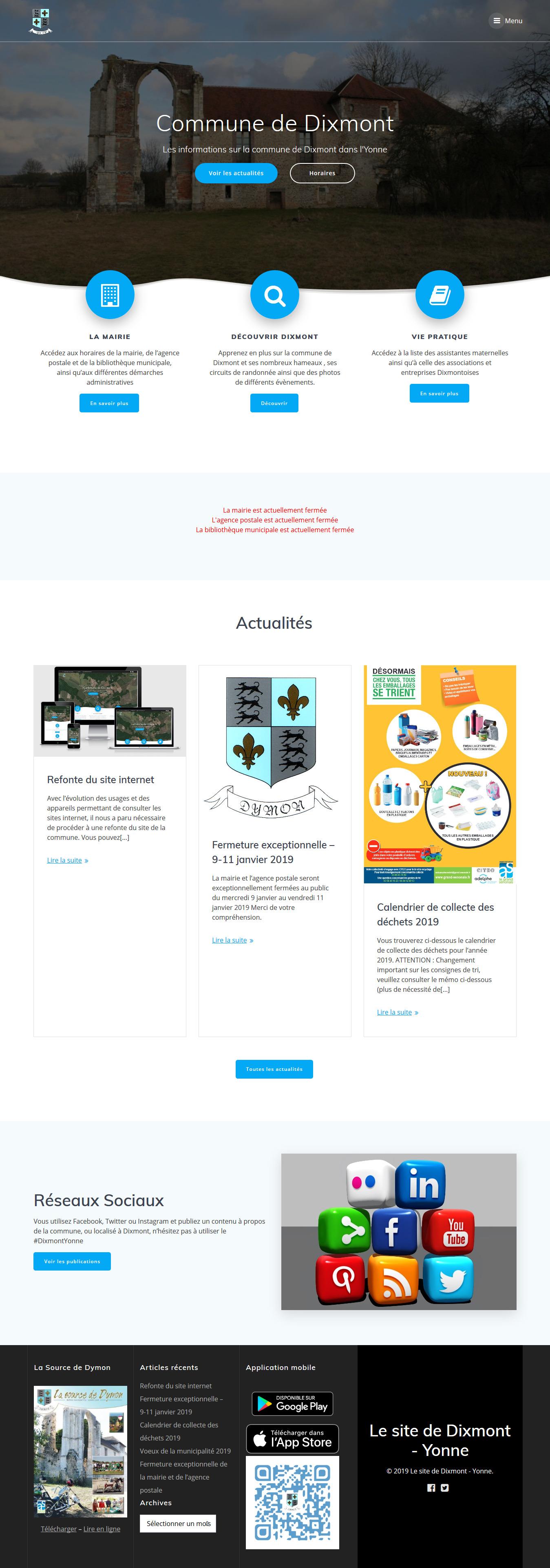 Copie d'écran du site de Dixmont dans l'Yonne