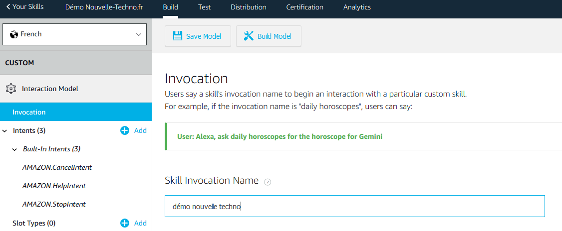 Invocation Alexa Skills